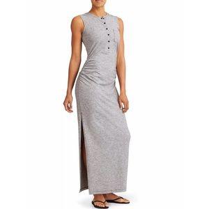 Athleta Striped Henley Gray Maxi Dress Medium Tall